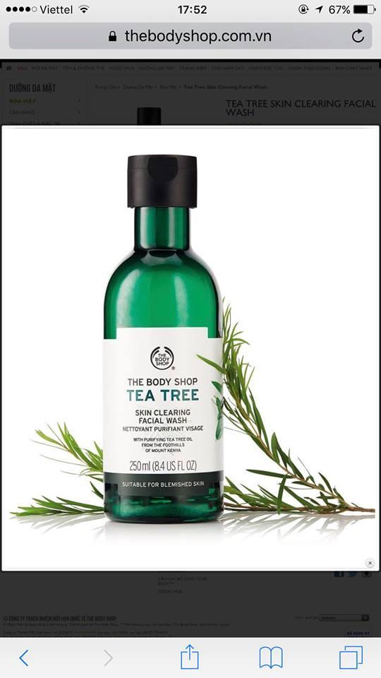 Da hỗn hợp thiên dầu nhạy cảm và dễ bị kích ứng thì có dùng được sữa rửa mặt Tea Tree của The Body Shop không?